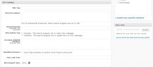 Champs de saisie des mots clés, titres et description admin wordpress