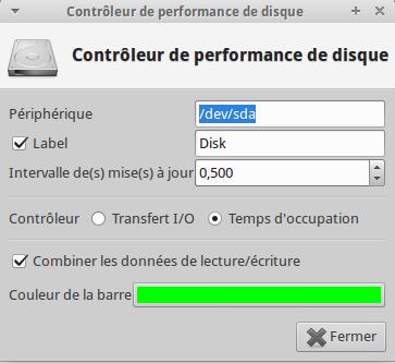controler de performance de disque xfce